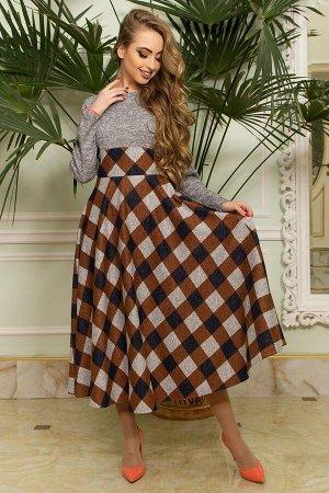 """Платье """"L-167"""" (серый+коричневый)"""