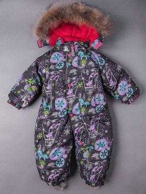 Комбинезон зимний для девочки с капюшоном, темно-серый