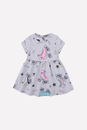 5375 Платье/серо-голуб.меланж, ролики