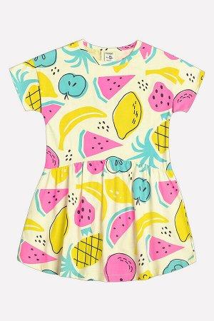 5493 Платье/тропические фрукты на бледно-лимонном