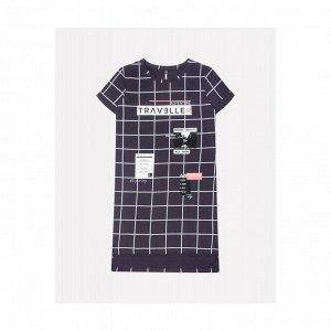 5544 платье/темно-серый, клетка