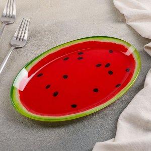 Блюдо овальное Доляна «Сладкий арбуз», 24,5?15 см