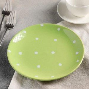 Тарелка десертная Доляна «Зелёный горох», d=19 см