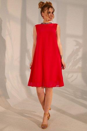 Платье Платье Golden Valley 4380 красное  Состав ткани:Платье: ПЭ-100%; Платье: Вискоза-100%;  Рост: 170 см.  Платье с воротником-стойкой, застежкой на две навесные петли и пуговицы по стойке. Платье