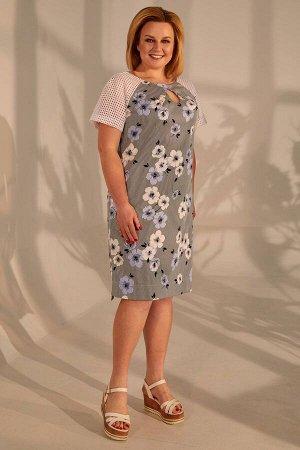 Платье Платье Golden Valley 4388 полоска с голубыми цветами  Состав ткани: Хлопок-97%; Эластан-3%;  Рост: 170 см.  Платье с круглым вырезом горловины, застежкой на навесную пктлю и пуговицу по горлов