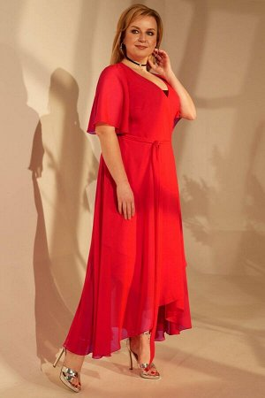Платье Платье Golden Valley 4684 №1  Состав ткани:Платье: ПЭ-100%; Платье: ПЭ-95%; Спандекс-5%;  Рост: 164 см.  Платье полуприлегающего силуэта, двухслойное, верхний слой- отрезное по линии талии, с