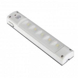 Светильник светодиодный с датчиком движения, 5 LED, 2 Вт, от батареек 3*AAA, 6500К, белый