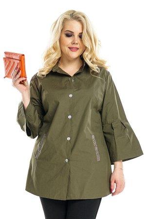 Туника Материал: Хлопок стрейч. Длина рукава: 3/4 . Блуза со стразами на кармане с воланами на рукавах хаки Длина изделия 50 размера по спинке - 76 см. В каждом следующем размере длина увеличивается.