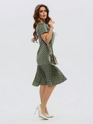 Платье цвета хаки с плиссированной вставкой