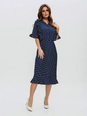 Приталенное темно-синее платье с плиссировкой