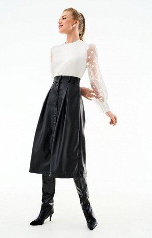 Трендовая юбка А-силуэта из гладкой экокожи с центральной застежкой H.I.T.