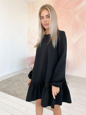 Платье-трапеция с воланом из костюмной ткани