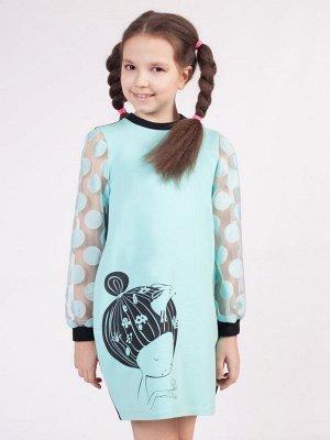 Платье О-образного силуэта для девочки  Цвет:мятный