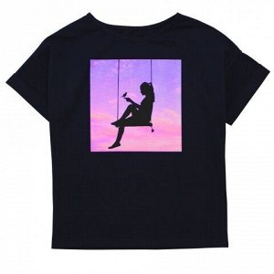 Футболка Модная блузка для девушек. Стильный принт. Материал: 95% хлопок, 5% эластан, кулирка с лайкрой пенье