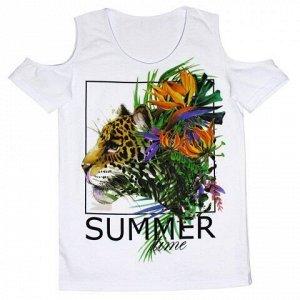 Футболка Стильная летняя блузка для девочек. Модный принт. Материал: 95% хлопок, 5% эластан, кулирка с лайкрой
