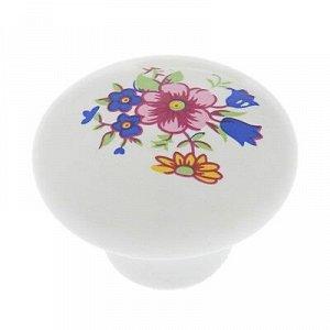 Ручка кнопка Ceramics 017, керамическая, белая