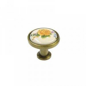 Ручка-кнопка с фарфором KF02-06, бронза