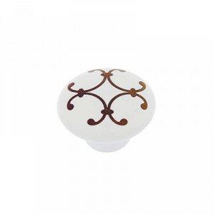 Ручка кнопка Ceramics 009, керамическая, белая с рисунком