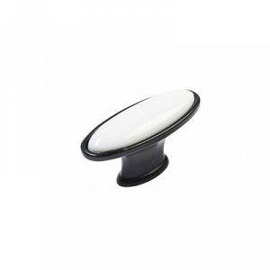 Ручка-кнопка с фарфором KF06-11, матовый черный