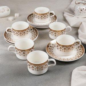Сервиз чайный «Виолет», 12 предметов: 6 чашек 170 мл, 6 блюдец 15,5 см