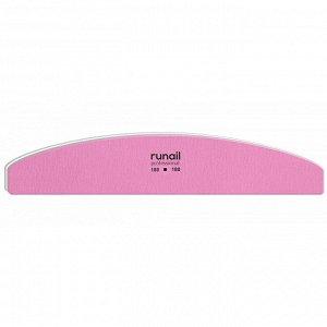 Профессиональная пилка для искусственных ногтей (розовая, полукруглая, 180/180), RuNail