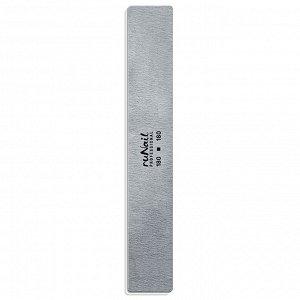 Профессиональная пилка для искусственных ногтей (серая, прямая, 180/180), RuNail