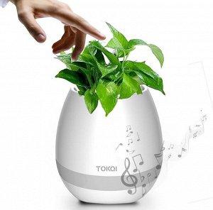 Музыкальный цветочный горшок (белый)