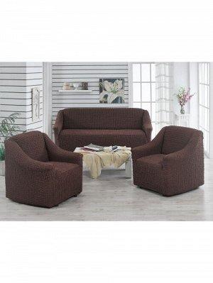 Чехол для мебели 3 пр, без оборки,тёмно/коричневый