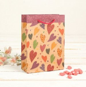 """060-0014 Пакет подарочный 24*33 см """"Разноцветные сердца"""""""