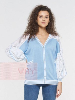 Жакет женский-. Цвет: 7001/9782 белый/голубой