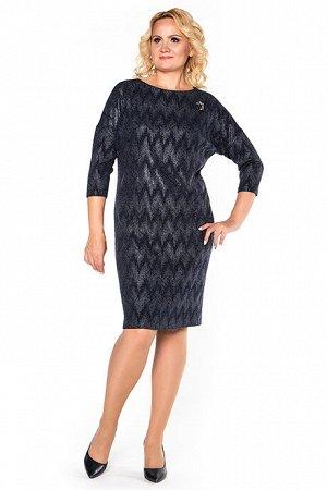 Платье Платье  Состав: Состав:  60% полиэстер; 34% шерсть; 6% эластан Описание модели:  Платье полуприлегающего силуэта из облегченного шерстяного трикотажа. Синий цвет. Оригинальная фактура с имитац
