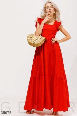 Красное платье с оборками