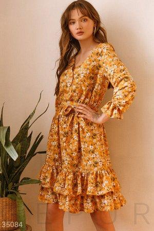 Желтое цветочное платье