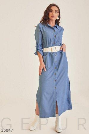 Голубо платье-рубашка