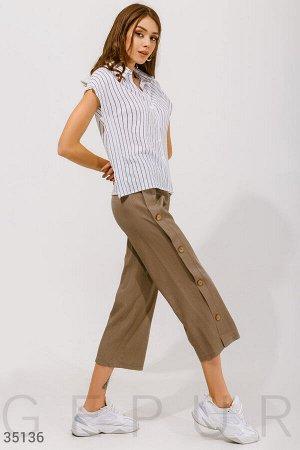 Свободные брюки из льна