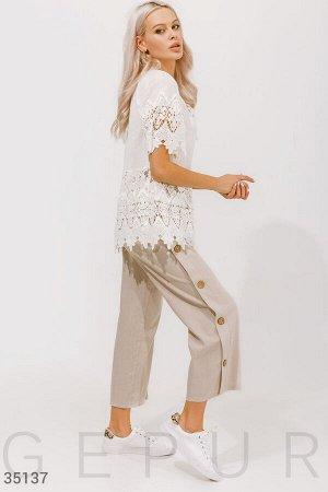 Бежевые льняные брюки