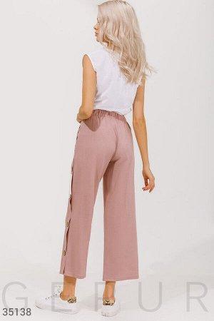 Льняные брюки пудрового оттенка