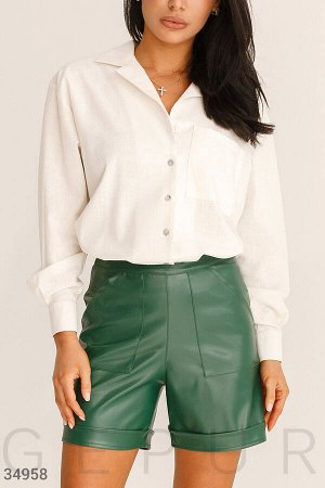 Кожаные темно-зеленые шорты