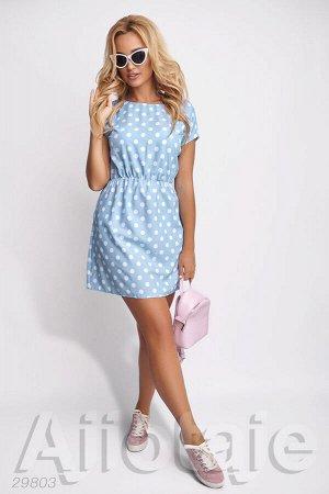 Голубое платье в горошек с талией на резиночке