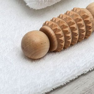 Массажёр для рук и ступней «Дорожный», деревянный, зубчатый