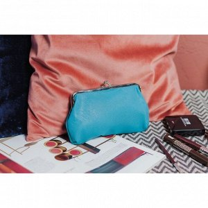 Косметичка-фермуар, отдел на рамке, цвет бирюзовый