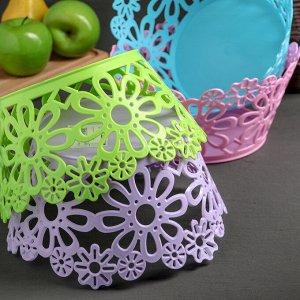 Ваза для хлеба и фруктов «Цветочки», 22 см, цвет МИКС