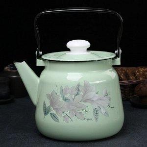 Чайник 3,5 л, с декором, цвет салатовый