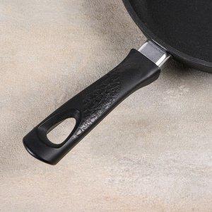 Сковорода 22 см, h=4 см, бакелитовая ручка, стеклянная крышка