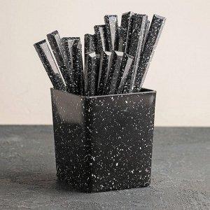 Набор столовых приборов 24 предмета на подставке «Мрамор чёрный», (1,2 мм)