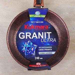 Сковорода Granit ultra red со съёмной ручкой, d=24 см