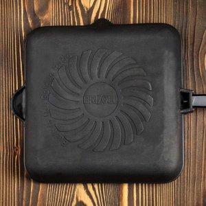 """Сковорода чугунная квадратная гриль """"ОПТИМА-BLACK"""", 280 х 280 х 50 мм, ТМ BRIZOLL"""