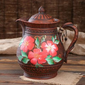 "Кувшин ""Цветы"", красная глина, 3 л, микс"