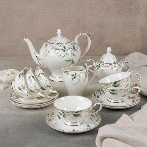 Набор чайный «Пионы», 15 предметов: 6 чашек, 6 блюдец, молочник, чайник, сахарница