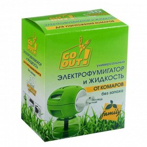 """Комплект от комаров """"Go out"""", 30 ночей (жидкость 20 мл + электрофумигатор)"""